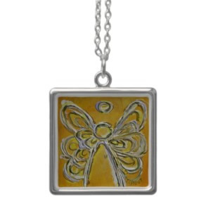 Yellow ANgel WIngs Silver Necklace Square