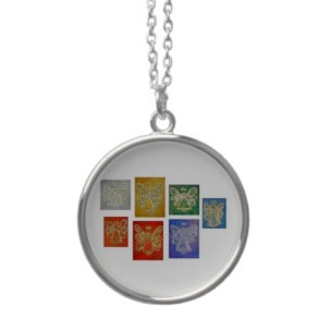 Angel Color Series Silver Necklace Round Charm