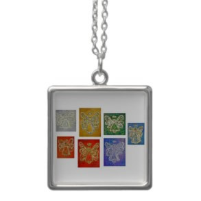 Angel Color Series Wings Silver Necklace Square