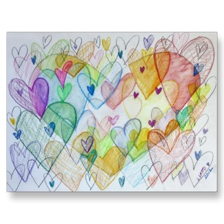 Community Hearts Color Postcard zazzle_postcard