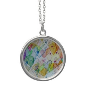 Community Hearts Color Silver Pendant Necklace zazzle_necklace