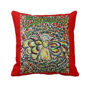 Spanish Serenity Prayer Angel Decorative Pillow throwpillow