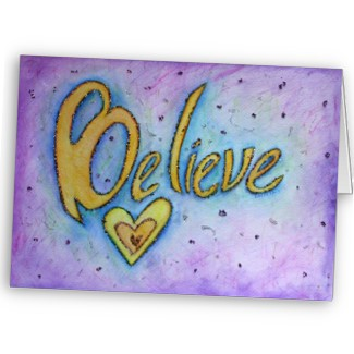 Believe Inspirational Word Art Greeting Cards card