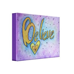 Believe Inspirational Word Painting Canvas Art wrappedcanvas