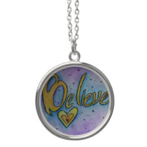 Believe Word Art Painting Silver Necklace Charm necklace