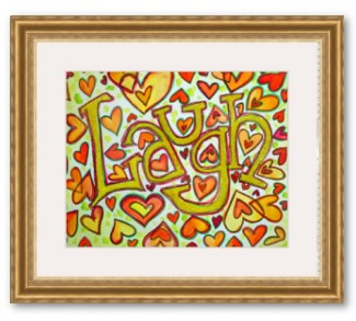Laugh Gliiter Word Framed Art Poster Print