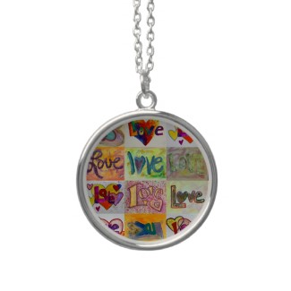 Love Art Word Painting Silver Necklace Round