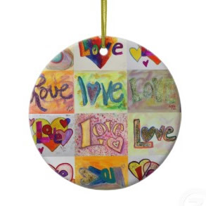 Love Art Words XOXO Ornament Painting ornament