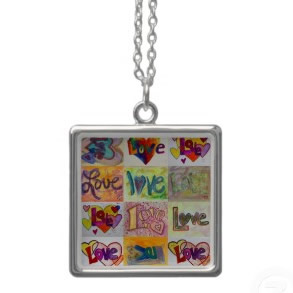 Love XOXO Art Word Painting Silver Necklace necklace