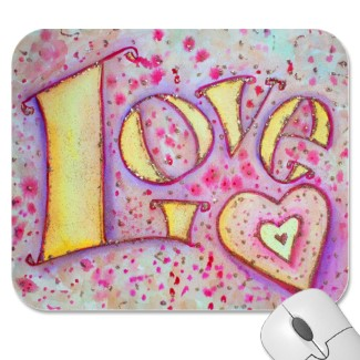 Love Word Artwork painting Customized Mousepad
