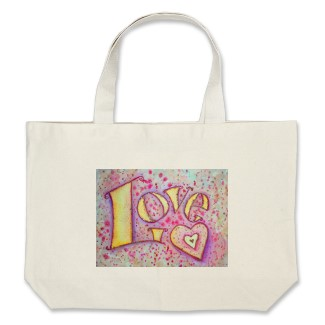 Love Sweet Pink Word Art Painting Tote Canvas Bag