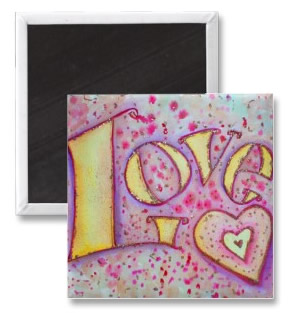 Sweet Pink Love Word Artwork Magnets