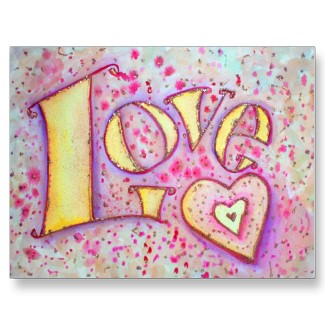 Sweet Pink Love Word Art painting Customize Postcards