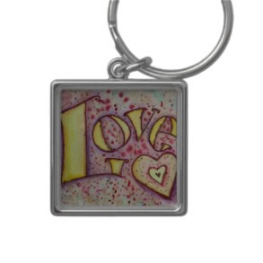 Love Word Art Painting Keychain