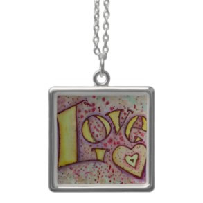 Love Art Word Painting ilver Necklace