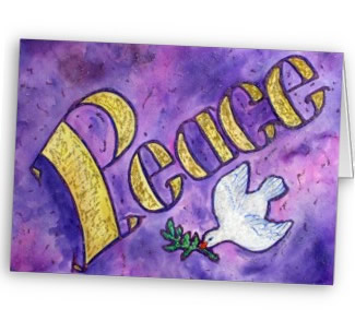 Peace Dove Word Art Greeting Card or Note Cards