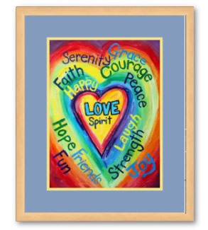 Rainbow Heart Spirit Word Framed Poster Art Print