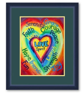 Rainbow Heart Spirit Words Framed Art