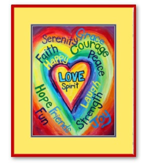 Rainbow Heart Spirit Word Framed Art