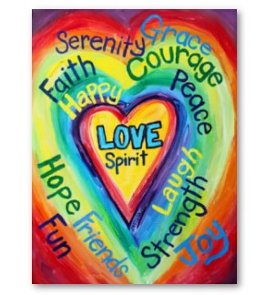 Rainbow Heart Spirit Words Art Poster Print