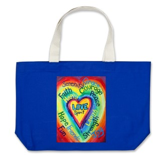 Rainbow Heart Spirit Word Tote Bags