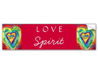 Rainbow Heart Spirit Words Bumper Sticker