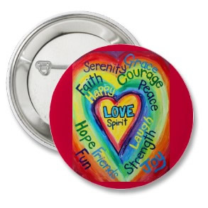 Tainbow Heart Spirit Words Button (Round)
