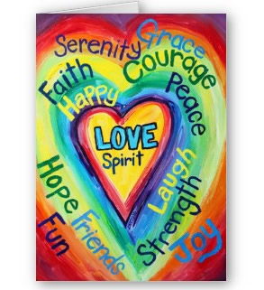 Rainbow Heart Spiriti Words Greeting or Note Card