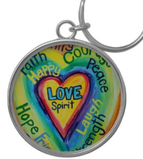Rainbow Heart Spirit Words Keychain Round