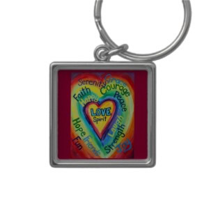 Rainbow Heart Spirit Words Keychain Square