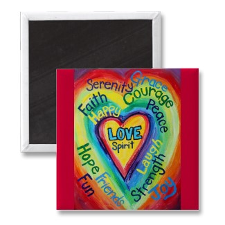 Rainbow Heart Spirit Word Magnet Square