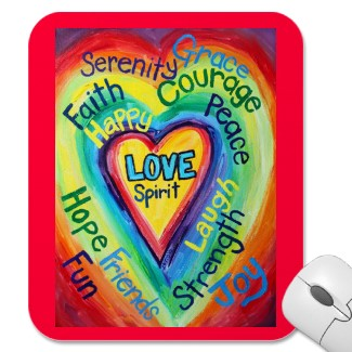 Rainbow Heart Spirit WOrds Mousepad