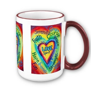 Rainbow Heart Spirit Words Mug or Cup