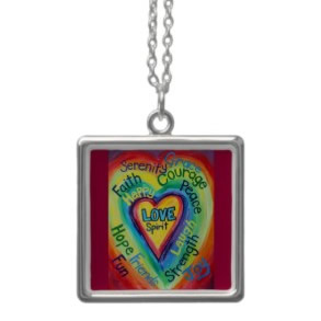 Rainbow Heart Spirit Words Necklace Charms Square