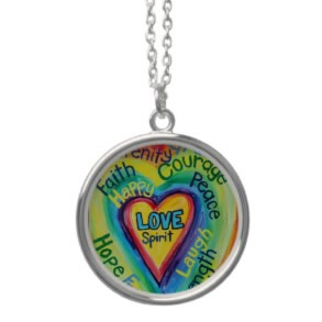 Rainbow Heart Spirit Words Round Pendant Necklace