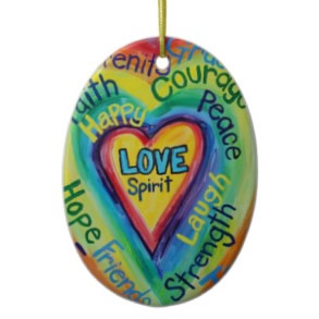 Rainbow Heart Spirit Words Ornament