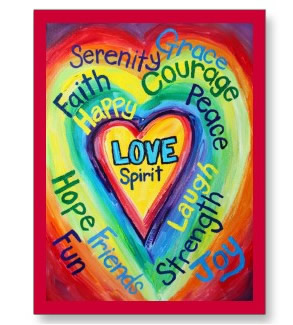 Rainbow Heart Spirit Words Postcard