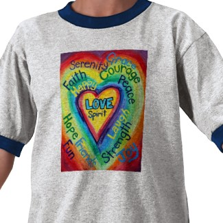 Rainbow Heart Spirit Words Tshirt Double Side Images