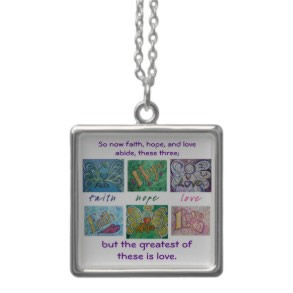 Faith, Hope, Love Quotation Angel Word Pendant Jewelry Necklace