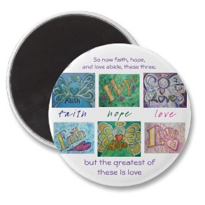 Faith Hope Love Angel Words Round Magnet 1 Corinthians 13 Quote