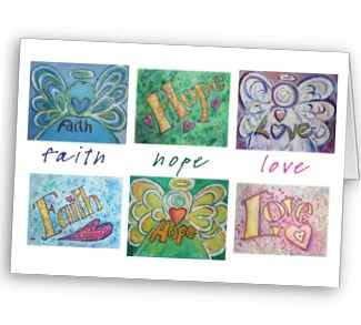 Faith Hope Love Angel Word Collage Greeting or Note Cards