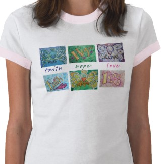 Faith Hope Love Collage Art Shirt Front and Back Pictures