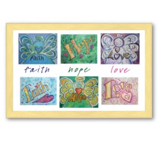 Faith Hope Love Word Art Painting Collage