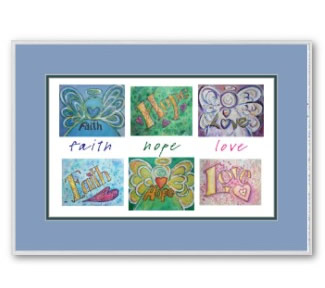 Faith Hope Love Quote Word Art Painting Framed Artwork Print