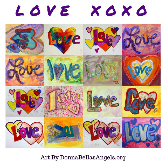 XOXO Love Words Art Mosaic Inspirational Paintings