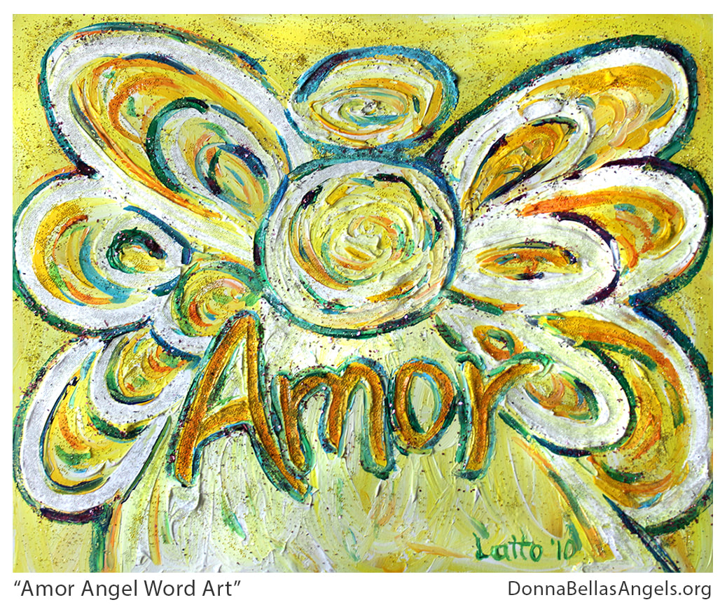 Amor Guardian Angel Word Art Inspirational Painting Picture
