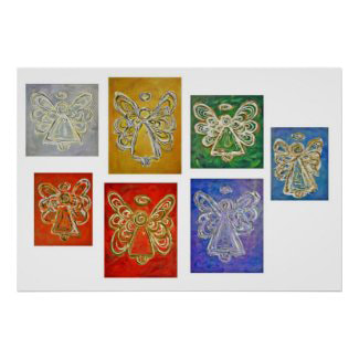 7 Rainbow Angels Color Series Art Paintings Art Poster Print