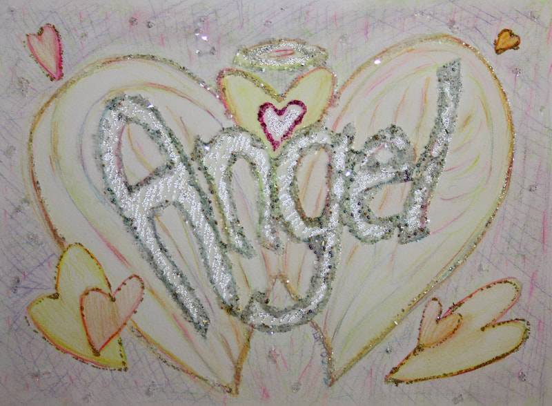 ​Angel Word Art Inspirational Painting (Glitter)