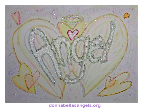 Angel Word Art Inspirational Glitter Painting