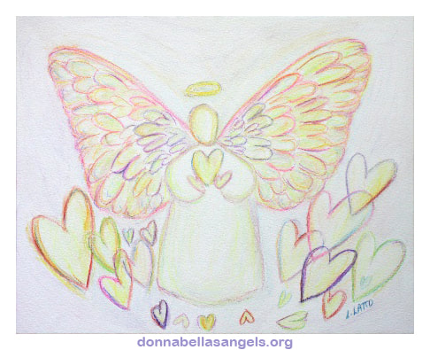 Guardian Angel of Hearts Art Watercolor Painting of a white light guardian angel holding a heart surrounded by rainbow hearts.
